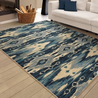 "Carolina Weavers Artistic Ikat Cold Creek Blue Area Rug (5'3"" x 7'6"")"