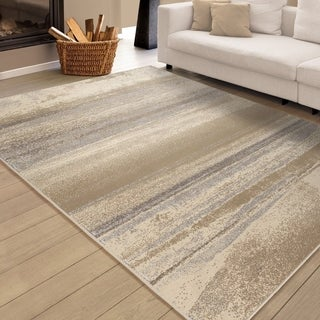"Carolina Weavers Soft Shaded Lines Whistler Beige Area Rug (5'3"" x 7'6"")"