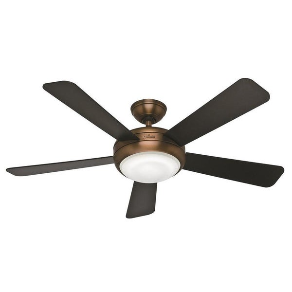 Hunter Fan Palermo 52-inch Brushed Bronze with 5 Black/ Walnut Reversible Blades 17994832
