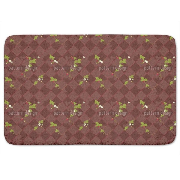 Wood Strawberries Bath Mat