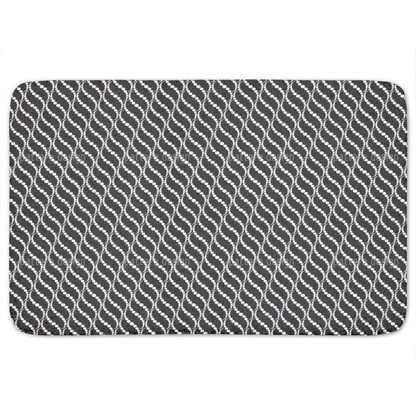 Wavy Dots Black Bath Mat