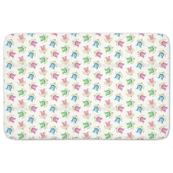 Sweet Retro Tulips Bath Mat