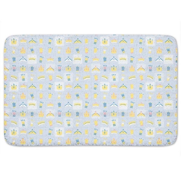 Royal Crowns Blue Bath Mat