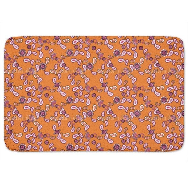 Orange Paisley Bath Mat