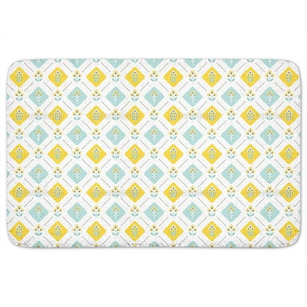 Retro Folk Flowers Bath Mat