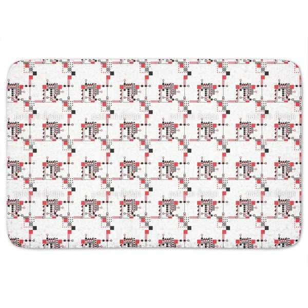 Red And Black Construction Bath Mat