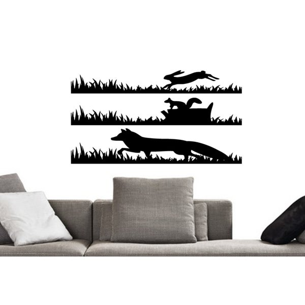 Hare and fox squirrel Wall Art Sticker Decal
