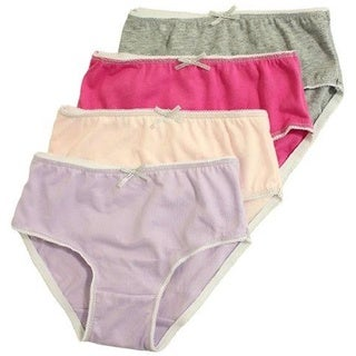 Girls' 100-percent Cotton Assorted Colors Panties (Pack of 4)