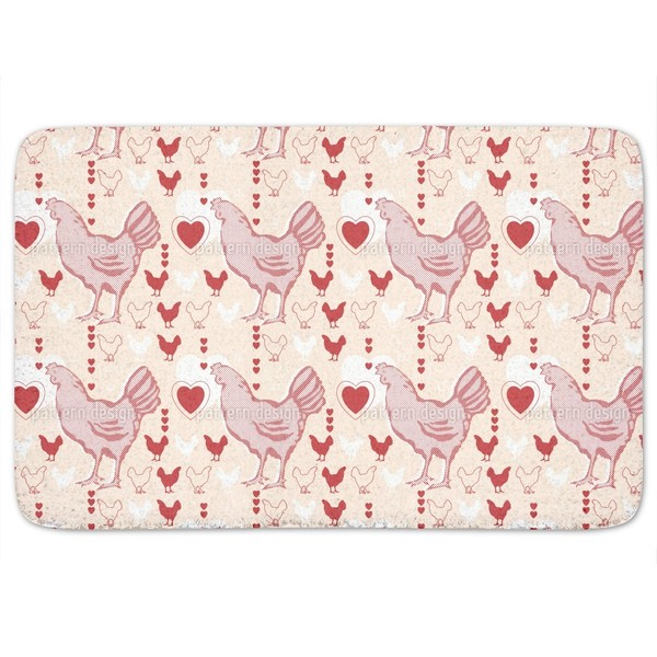 Chicken With Heart Bath Mat