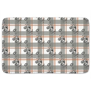 Checked Pattern With Skulls Bath Mat