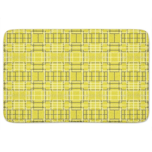 Asian Lattice Yellow Bath Mat