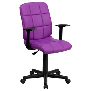 Menil Purple Quilted Design Leatherette Swivel Adjustable Office Chair