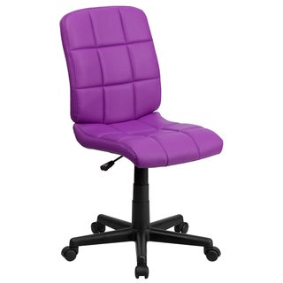 Menil Armless Quilted Design Purple Leatherette Swivel Adjustable Office Chair
