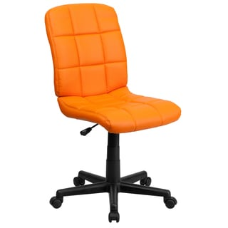 Menil Armless Quilted Design Orange Leatherette Swivel Adjustable Office Chair