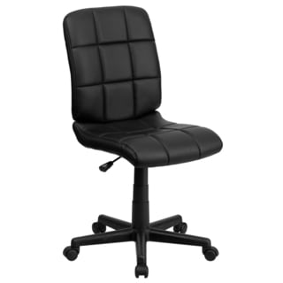 Menil Armless Quilted Design Black Leatherette Swivel Adjustable Office Chair