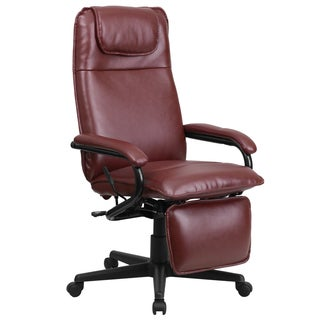 Mabire Reclining Burgundy Leather Executive Adjustable Swivel Office Chair with Footrest