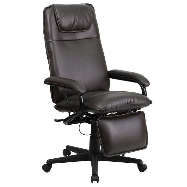 Mabire Reclining Brown Leather Executive Adjustable Swivel Office Chair with Footrest