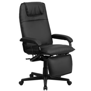 Mabire Reclining Black Leather Executive Adjustable Swivel Office Chair with Footrest