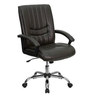 Prim Espresso Brown Leather Adjustable Swivel Task Chair