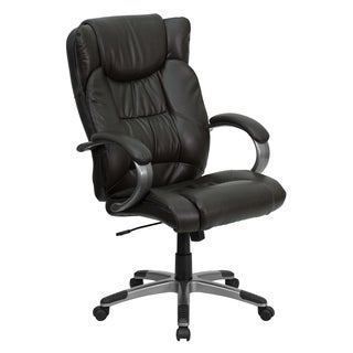 Grimo Espresso Brown Leather Executive Adjustable Swivel Office Chair with Padded Loop Arms