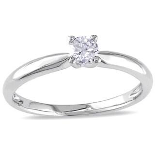 Miadora 10k White Gold 1/4ct TDW Diamond Solitaire Engagement Ring (G-H, I2-I3)