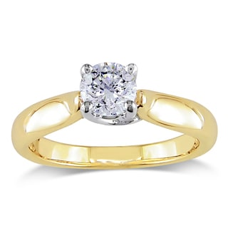 Miadora Signature Collection 14k 2-tone White and Yellow Gold 1/2ct TDW Certified Diamond Solitaire Engagement Ring (G-H, I1-I2)