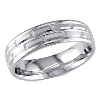 Miadora 14k White Gold Men's Chain Link Design Wedding Band