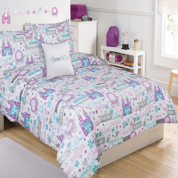 Sparkle Princess White and Purple 5-piece Comforter Set with Decorative Pillow