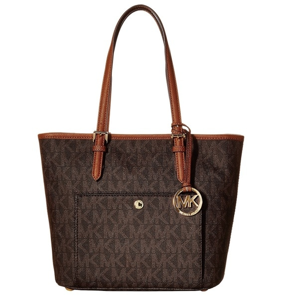 Michael Kors Medium Jet Set Brown Logo Top Zip Snap Tote Bag