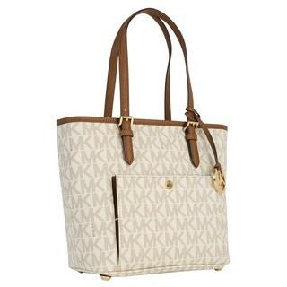 Michael Kors Medium Jet Set Vanilla Logo Top Zip Snap Tote Bag