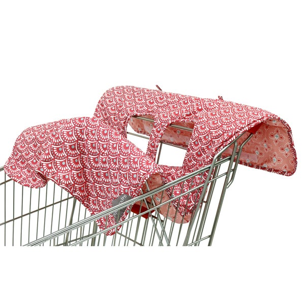 The Peanut Shell Reversible Shopping Cart Cover in Coral Scallop Print 18005214
