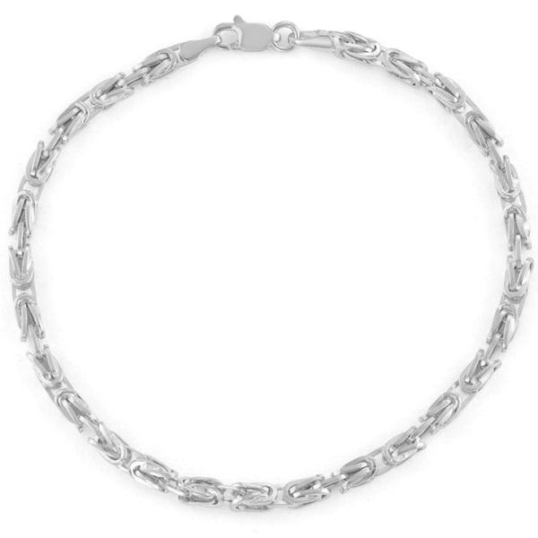 Gioelli 14k White Gold Petite Square Byzantine Bracelet