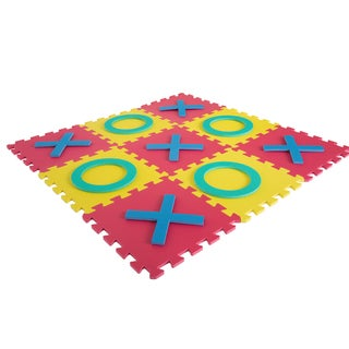 Giant Classic Tic Tac Toe Game - Oversized Interlocking Coloful EVA Foam Squares with Jumbo X and O Pieces Play by Hey! Play!