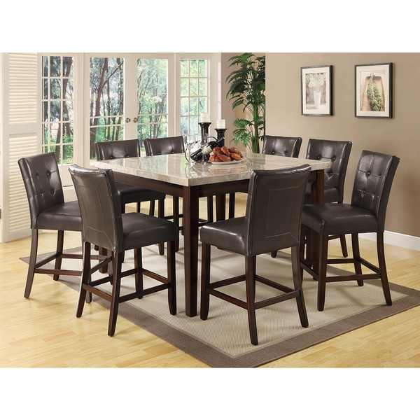 Camino Button Tufted Design Counter Height Dining Set with Beige Marble Top