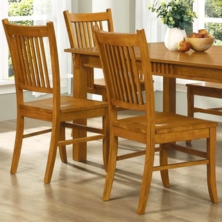Mid Century Design Wood Mission Country Style Dining Chairs (Set of 2)