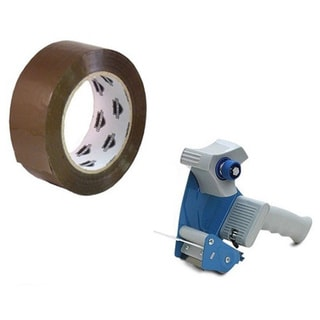 Tan Plastic 3-inch x 110-yard Packing Tape With 3-inch Tape Gun Dispenser