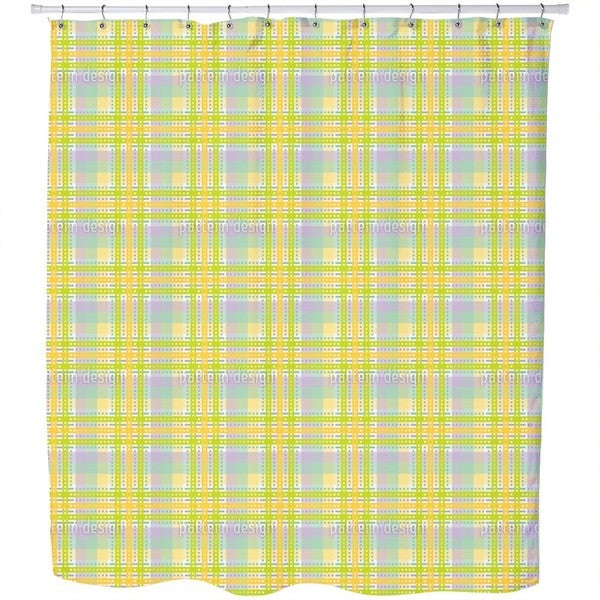 Yellow Tartan Shower Curtain