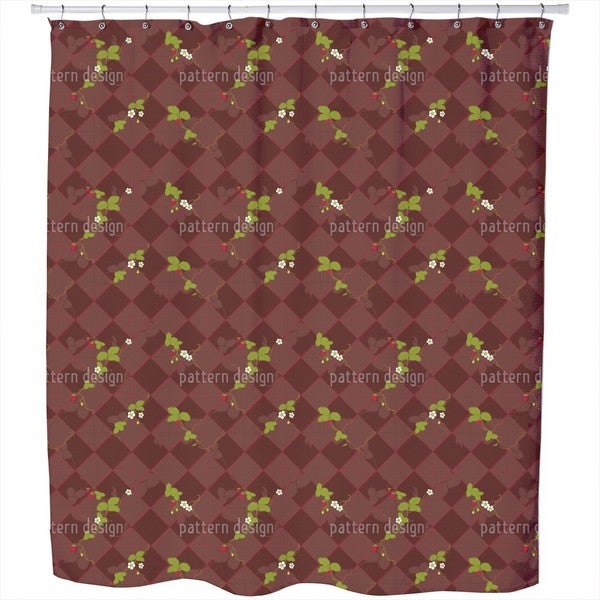 Wood Strawberries Shower Curtain