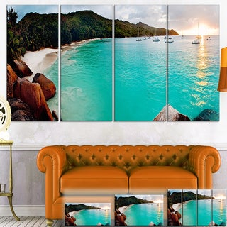 Designart 'Tropical Beach with Blue Waters' Seascape Photo Canvas Wall Art