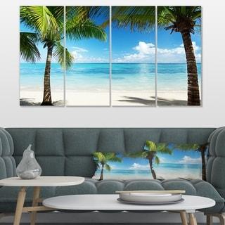Designart 'Palm Trees and Sea' Landscape Photo Canvas Wall Art