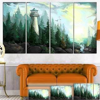Designart 'Landscape with River and Trees' Modern Painting Canvas Wall Art