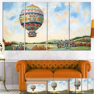 Designart 'Hot Air Balloon Illustration' Modern Canvas Wall Art