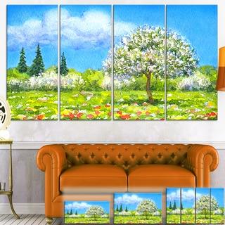 Designart 'Tree in Different Seasons' Watercolor Landscape Canvas Art Print
