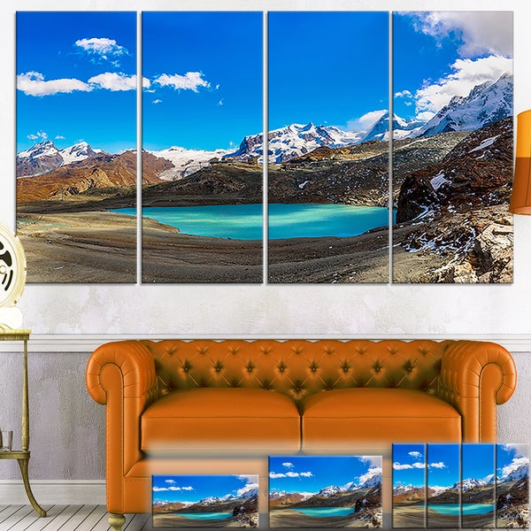 Designart 'Alps Mountain Fountain' Photography Canvas Art Print