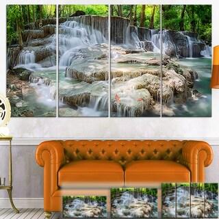 Designart 'White Huay Mae Kamin Waterfall' Landscape Photo Canvas Wall Art