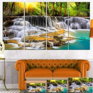 Designart 'Wide View of Erawan Waterfall' Landscape Canvas Wall Art