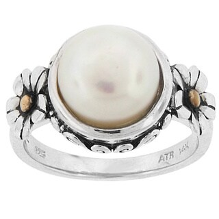 Meredith Leigh Sterling Silver and 14k Yellow Gold Pearl Flower Ring (9-10 MM)