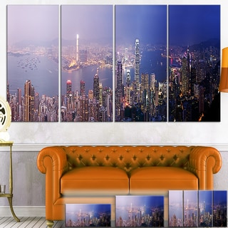 Designart 'Hong Kong from Day to Night' Cityscape Photo Canvas Print