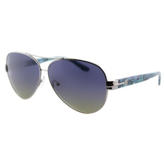 Tory Burch TY 6031 301913 Blue Polarized Lens Printed Silver Metal Aviator Sunglasses
