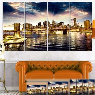 Designart 'Brooklyn Bridge and Manhattan Skyline' Cityscape Canvas Print